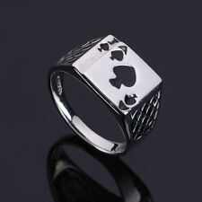Retro Poker Ace of Spades Mens Cool Stainless Steel Ring Fashion Jewelry Gift