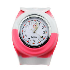 Quartz Movement Mixed Color Stripes Silicone Jelly Slap Sport Watch Waterproof
