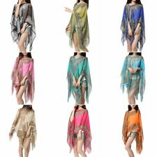 Women's Chiffon Sunscreen Scarves Floral Shawl Neck Wrap Summer Scarf Scarves