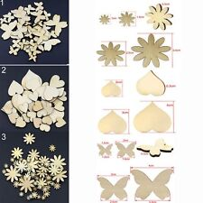 50Pcs Sizes Craft Sewing Scrapbooking Flower Butterfly Heart Buttons Wood