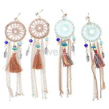 Handmade Women Bohemian Boho Dream Catcher Dangle Feather Drop Earrings Jewelry