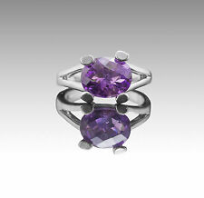 925 Sterling Silver Ring with Pear Natural Purple Amethyst Gemstone Handcrafted.