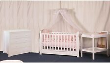3 IN 1 Sleigh Cot Baby Bed Cot Mattress Package Deal White Walnut Brown Crib