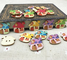 Wooden Cartoon buttons sewing scrapbooking Mushroom house buttons 25mm