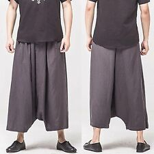 Men Linen Gray Grey Harem Drop Crotch Loose Fit Cropped Wide Leg Pants Trousers