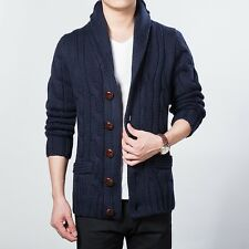 Men Slim Thick Cable Knit Braided Cardigan Sweater Top Jacket Shawl Collar Solid
