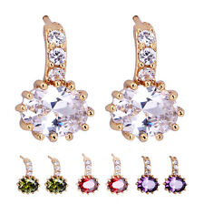 New Hot Womens Yellow Gold Filled Multi-color Crystal CZ Stud Earrings