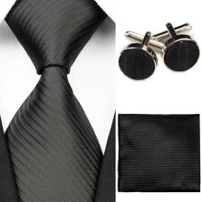 Mens Solid Striped Slim Business Silk Tie Sets Hanky Handkerchief Cufflinks Neck