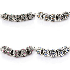 10pcs crystal Charm Flower Beads Fit Bracelet silver plated jewelry womens