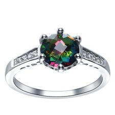 1.2CT Mysterious Rainbow Topaz Women 925 Silver Wedding Trendy Ring Size 6-10
