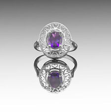 925 Sterling Silver Ring with Oval Cut Natural Amethyst Gemstone Handcrafted.