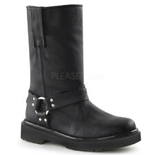 Demonia Rival-303 Black Vegan Leather Biker Boots - Gothic,Goth,Punk,Black,Buckl