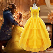 Adult Fancy Dress Beauty and The Beast Princess Belle Cosplay Costume Ball Gown