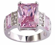 Emerald Cut Pink Topaz 12*9mm White CZ 925 Sterling Silver Platinum Plated Ring