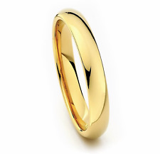 4mm Men & Ladies Tungsten Carbide Gold Plated Facet Cut Wedding Band Ring