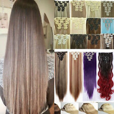 18 Clips In On Hair Extensions Straight Wavy Full Head Human Hairpiece Synthetic