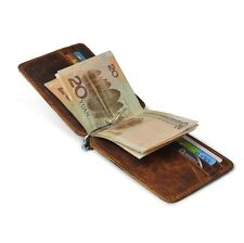 Retro Mens Genuine Leather Wallet Money Clip Credit Card ID Holder Thin Slim NEW