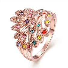 Women's Fashion Flower Rings 18k Rose Gold Filled Colorful Party Jewelry New