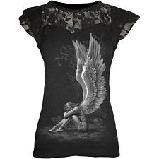 Spiral Enslaved Angel Lace Layered Cap Sleeve Top Black [Special Order] - Gothic
