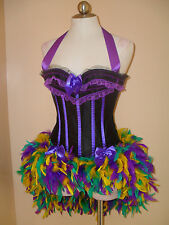 SALE: Mardi Gras Purple Blurlesque Showgirl Corset Feather Skirt Costume S-XL