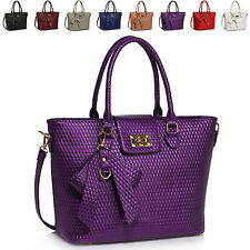 New Ladies Patent Leather Women Shoulder Bag Cross Body Handbag Tote Bow Charm