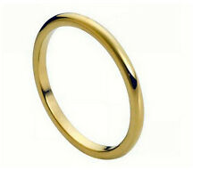 2mm Men & Ladies Tungsten Carbide Gold Plated Domed Wedding Band Ring