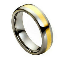6mm Men & Ladies Tungsten Carbide Gold Plated Center Domed Wedding Band Ring