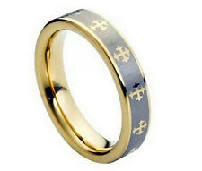 5mm Men & Ladies Tungsten Carbide Two-tone Gold with Cross Wedding Band Ring