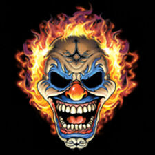 Smiling Evil Clown Mask Hair On Fire T-Shirt Tee