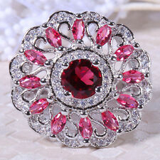 5ct Ruby&Pink Sapphire 925 Silver Women Jewelry Ring Wedding Vintage Size6-10
