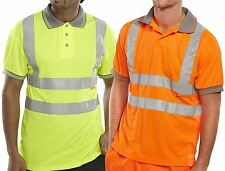 New Mens Bseen High Visibility Short Grey Collared Buttoned Polo Work Shirt Top