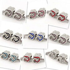 3pcs silver heart European Charm Beads Fit Necklace Bracelet jewelry #3
