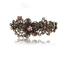 Fashion Vintage Womens Flower Hair Pin Crystal Barrette Hairpin Clip Jewelry