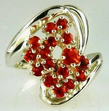 Genuine Mexican Fire Opal Ring .925 SS Sterling Silver Nice Fiery Orange Color