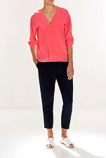 NWT $179 Trenery COUNTRY ROAD Pure SILK SHIRT TOP Black Pink 6 -16 available