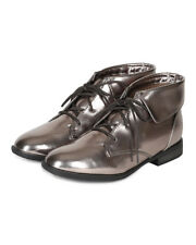 Breckelles Fontana-11 New Women Metallic Round Toe Lace Up Oxford Foldable Ankle