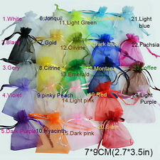 New 50Pcs/Bag 7x9cm 24 Colors Jewelry Holder Organza Bags Wedding Gift Pouches