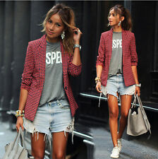 Spring Women Fashion Red Slim One Button Blazer Jacket Lapel Casual OL Suit Coat