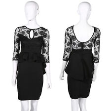 New Ladies Womens Dress Black Midi Bodycon Party Stretch Lace Celeb Long NT