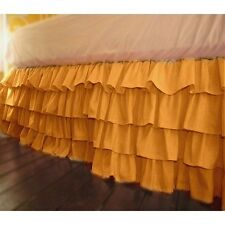 "1 Qty Multi Ruffle Bed Skirt Egyptian Cotton 1000TC Drop 15"" Gold  Solid"