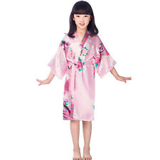 Girls Kimono Robes Bridesmaid Peacock Pyjamas Satin Silk Sleepwear Floral Gown