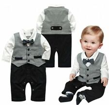 Baby Boy Wedding Christening Tuxedo Formal Outfit Suit Romper Clothes 0-12M