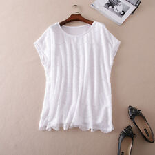 Womens Clothing Lace Plus Size Tops Wave Solid White Tee Cap Sleeve