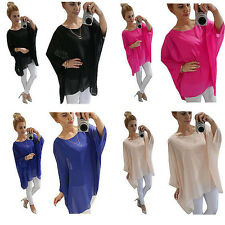 Women Plus Size Batwing Sleeve Oversize Tops Loose Casual Plain Blouse Shirts