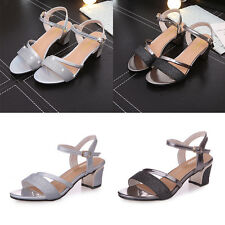 Women Ladies Shiny Frosted Chunky Block Heels Ankle Strap Buckle Sandals Shoes