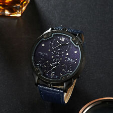 OULM 48 Army Military Dual Time Dial Leather Band Mens Quartz Wrist Watch