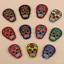 Skull Embroidered Iron On / Sew On Patches Set Badge Bag Fabric Applique Craft
