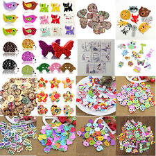 50x Mixed Animal Hearts 2 Holes Wooden Buttons Sewing Craft Scrapbooking DIY Hot