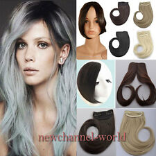 US Long Clip In on Front Hair Bang Side Fringe Hair Extension Real Natural bangs
