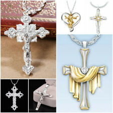 925 Silver Necklace Chain Catholic Crucifix Christ Church Jesus Cross Pendant